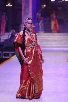 Red Silk Saree by Gaurang Shah