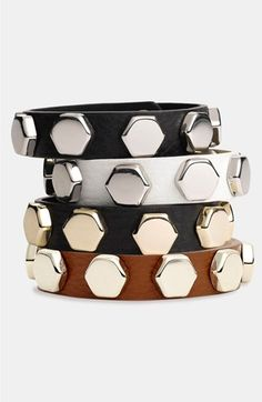 Cara Studded Leather Bracelet available at #Nordstrom. Cute basic to thow on before you go to work. I would get black or brown with Gold.
