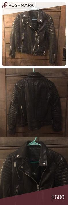 ALL SAINTS perfect condition leather jacket Never worn, beautiful black motorcycle jacket in black leather. Elbow patches and metal hardware in perfect condition. All Saints Jackets & Coats
