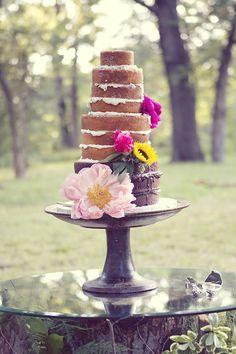 Beautiful Multi-Tiered Naked Wedding Cake Photo