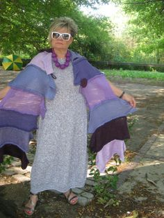 Handknitted LAGENLOOK  Scarf-Shawl-Shrug-Jacket-Tunic