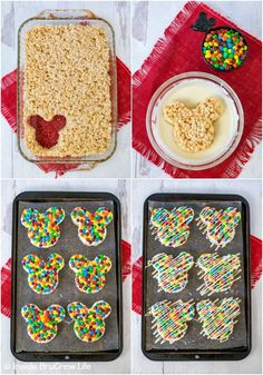 M&M's Mickey Mouse Rice Krispie Treats - chocolate and M&M's makes these rice krispie treats look and taste just like the Mickey treats in the Disney parks. Make this copycat recipe for the Disney fan in your life. Disney Party Foods, Disney Snacks, Disney Food, Disney Recipes, Mickey Mouse Desserts, Mickey Mouse Treats, Mickey Mouse Parties, Mickey Party, Rice Krispy Treats Recipe