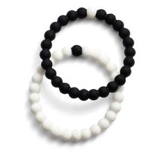 Women's Lokai Choose Your Cause Set Of 2 Black & White Bracelets ($36) ❤ liked on Polyvore featuring jewelry, bracelets, black multi, animal jewelry, heart bangle, beads jewellery, black and white jewelry and black white jewelry