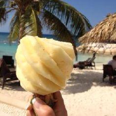 Yummy pineapple on the beach!