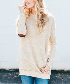 Love this So Perla Oatmeal & Brown Elbow-Patch Tunic by So Perla on #zulily! #zulilyfinds