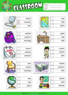 Classroom ESL Multiple Choice Worksheet For Kids