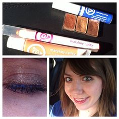 """For those who know me pretty well, I'm generally predictable and perhaps """"classic"""" in style. But isn't it sometimes fun to do the unexpected? New bold fluid eye liner in Blue My Mind w/ neutral mineral shadows in Copper Glow, Rosegold & French Roast; mix of  Color Me Coral lip crayon with Teddy Bare lip jelly. Have some fun! #featurefriday  www.marykay.com/heather.jensen"""