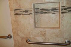 accent tile runs through niche