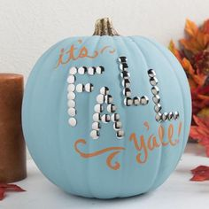 "6 Clever No Carve Craft Pumpkins with Craft Box Girls ""It's Fall Y'all"" Teal Pumpkin Pumpkin Games, Diy Pumpkin, Pumpkin Crafts, Pumpkin Carving, Pumpkin Ideas, Pumpkin Painting, Fall Crafts, Blue Pumpkin, Holiday Crafts"