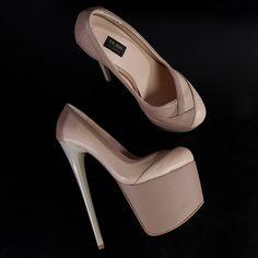 Beige Nude Matte Double Colour Pumps Thick Heels, Sexy High Heels, High Heels Stilettos, Low Heels, Shoes Heels, Pumps, High Platform Shoes, Vegan Leather, Shoe Boots