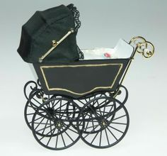 Dolls House Miniature Antique Black Pram