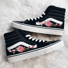 80d3c7d180 Unisex Sk8-Hi Rose Buds Pink Blk Custom Rose Floral Embroidered Patch Vans