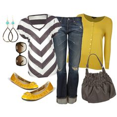 Gray and Yellow......very pretty!  Don't do the skinny jeans myself, but love the rest