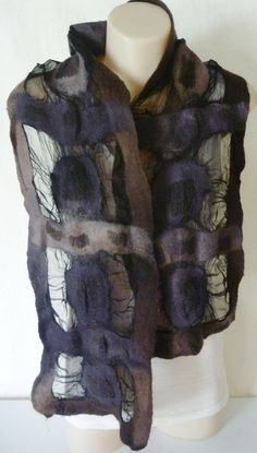 Gey black wool silk scarf