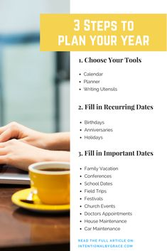 3 Steps to Plan Your Year: Yearly planning doesn't have to be hard. In fact, it's not hard. Taking a little bit of time now can save you loads of time in the future with these three simple planning tips. #yearlyplanning #plannerideas #planning #timemanagement