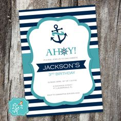 Nautical Anchor Baby Shower Invitation, Nautical Baby Shower, Nautical Stripes, Sailor, Sailboat, Navy, Boy, Girl, DIGITAL PRINTABLE FILE by AFlairForPaper on Etsy