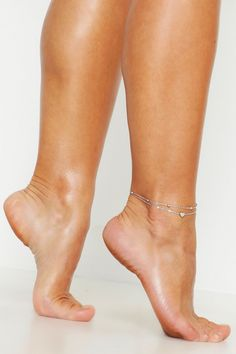 Womens Heart Simple Layered Anklet - grey - One Size Beautiful Toes, Lovely Legs, Pretty Toes, Foot Pics, Foot Pictures, Feet Soles, Women's Feet, Pies Sexy, Feet Nails