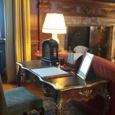 HM Queen Elizabeth's desk in her private sitting room Holyrood Palace, Edinburgh
