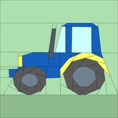 """Tractor - 12""""(30cm) Paper pieced patterns quiltartdesigns.blogspot.com"""