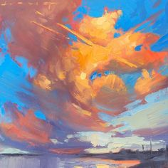 """Chris Long on Instagram: """"Cloud Study No.102 6""""x6"""" Oil on cradled wood panel Available through DailyPaintWorks.com (link in profile) . #cloudscape…"""" Chris Long, Long Painting, Modern Impressionism, Pictures To Paint, Fine Art Gallery, Wood Paneling, Clouds, Sky, Canvas Paintings"""