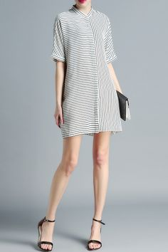 Striped Stand Neck Loose Fitting Dress - WHITE M