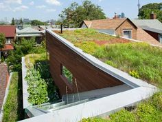 Benefits of a Green Roof: -An Extended Roof Life -Increased Building Insulation -Reduced Heat Island Effect -Reduced Runoff -Natural Habitat - Model Home Interior Design Green Building, Building A House, Building Ideas, Living Roofs, Living Walls, Rooftop Garden, Roof Design, Cabana, Garden Design
