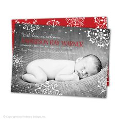 Christmas birth announcement Snowflakes baby by saralukecreative