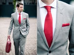 Grey tuxedos with red ties for the groom and groomsmen | Future ...