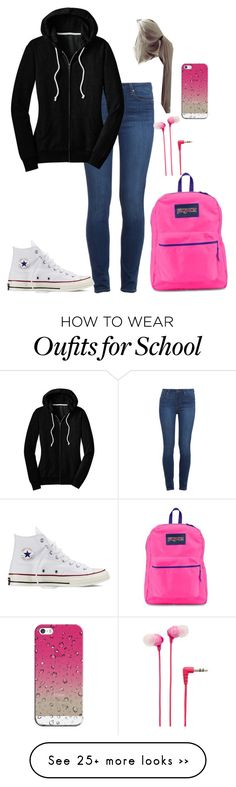"""School"" by mayaxoxo3 on Polyvore featuring Paige Denim, Converse, JanSport, Sony and Casetify"