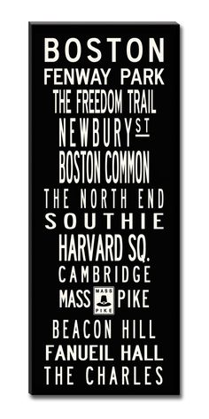 SALE PRICE-BOSTON, Large 24x60 Gallery-Wrapped Canvas Subway Art. $329.00, via Etsy.
