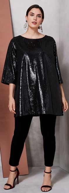 Joan Vass Sequin Tunic in Sequin Tunic, Sequin Skirt, Plus Size Dresses, Plus Size Outfits, Lace Skirt, Seasons, Size Clothing, Skirts, Party
