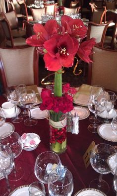 A festive holiday design by Blumz featuring stately red amaryllis, fresh cranberries, red roses and decorative gold flat wire.  Used as a wedding reception arrangement during the holiday season, the amaryllis makes such a statement. #blumz #ourprettywedding
