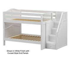 DAPPER Full size Low Bunk bed with Stairs White by Maxtrix kids furniture