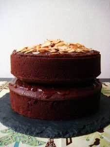mexican chocolate cake with toasted almonds