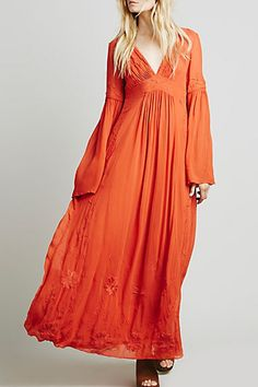 Embroidered Plunging Neck Flare Sleeve Maxi Dress