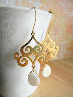 Long Antiqued Gold Chandelier Dangle Earrings, $25.00.