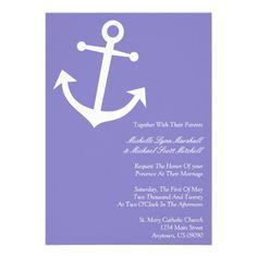 Nautical Boat Anchor Wedding Invitations (Purple)  www.zazzle.com