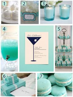 A Breakfast At Tiffany's Themed Party - 1. Napkin rings 2. Rock Candy  3. Candles  4.  Punch  5.  Mini Present Cakes  6.  Gift box  7.  Macaroons