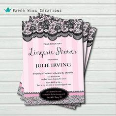 Lingerie Shower Invitation. Elegant black by ThePaperWingCreation, $13.00