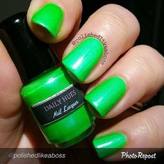 """by @polishedlikeaboss """"Next up from the Shifty Neons collection by @dailyhuesnaillacquer is Grace, which is a ridiculously gorgeous green neon polish with baby blue shimmer. The formula on this one was great too, only taking two coats to achieve the perfection you see here! I had to share a shot of this in the sun vs in my light box, because it practically glows in direct light! This shade has the strongest shimmer though, so it's still really gorgeous in the shade or indoor light as well…"""