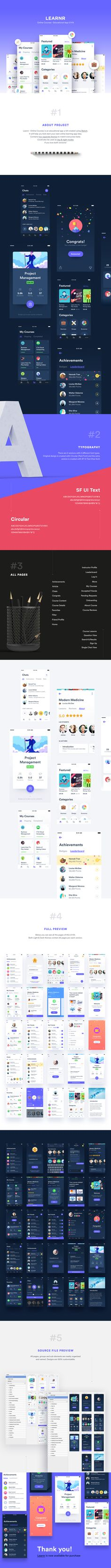 Learnr is an online courses educational app ui kit designed using sketch app software.