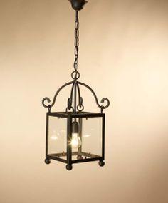 Farol Pompeya 1 luz con cristal, se puede cambiar el color de la forja