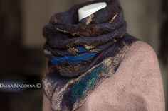 Soft and warm scarf-collar , made in the technique Nuno-felting from merino wool and silk, various natural silk fibers and curls. Perfectly drape and keeps the shape.   Successfully combined with a variety of basic things. Merino wool is very soft and pleasant to the touch. The neck is in a scarf and protected and decorated the same time))) ------ this scarf is already sold, I can do a similar on request--------    Real colors may slightly differ from their appearance on your display, as it…
