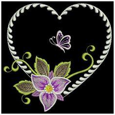 Elegant Floral Heart embroidery design