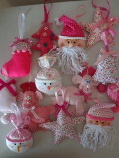 Enfeites de Natal rosa