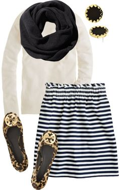 Black and white stripe skirt, white top, black infinity scarf, leopard Tory Burch flats