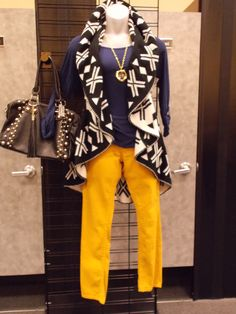 Trying to figure out what to pair with your trendy new colored jeans? Bring them to Ladies Night Out, November 15th from 8-10 p.m. and our fashionistas will help you find the perfect thing to make them pop at 20% off our already amazingly low prices. Don't miss out! #black and white tribal vest #yellow skinny jeans At Clothes Mentor-Alliance  Center