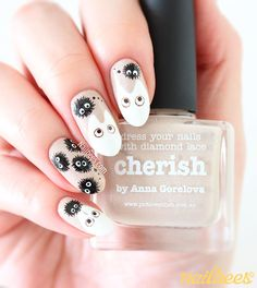 My Totoro Inspired Nail Art with a tutorial! I used Cherish from piCture pOlish as the background. Aycrlic Nails, Bling Nails, Cute Nails, Pretty Nails, Hair And Nails, Simple Nail Art Designs, Easy Nail Art, Kawaii Nail Art, Anime Nails