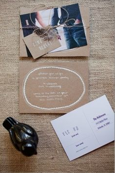 invitation w/ engagement photo -- might use idea for cookie exchange!
