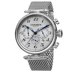 Akribos XXIV Men's Chronograph Stainless Steel Mesh Silver-Tone Bracelet Watch